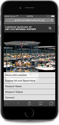 Mobile phone web page of Carnegie Museums of Art and Natural History.